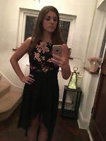 Women's Black and Rose Gold Sequin Chiffon Hem Maxi Dress