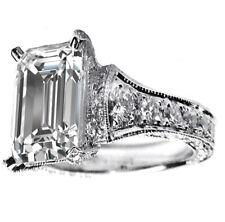 GIA Certified 18k White Gold Emerald Cut Diamond Engagement Ring 2.50 Carat