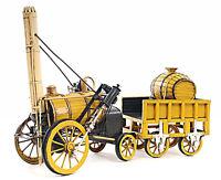 "Stephenson's Rocket Steam Locomotive 1829 Metal Model 18"" Vintage Train Decor"
