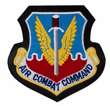 "Air Combat Command Leather Patch w/ Hook (732) 4"" x 4"" Embroidered Patch 49878"