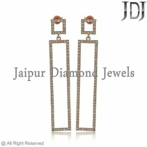 Natural Pave White Sapphire 14k Rose Gold Bar Dangle Earrings Mother's Day Gift