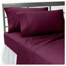 Queen Wine Solid 4 Piece Bed Sheet Set 1000 Thread Count 100% Egyptian Cotton