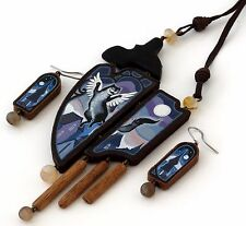 Hand Painted Cat Angel Leather Wood Carnelian Pendant Necklace Earrings Set