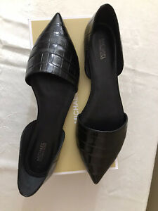 MICHAEL Michael Kors Black Patent Slip On Flats Loafers Shoes Pointed Toe 10 M