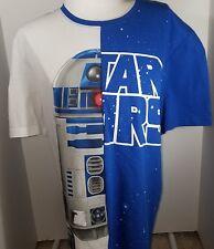 Disney MEN'S Tee Shirt Star Wars R2D2 Split Color SizeXL Blue/White - NWT