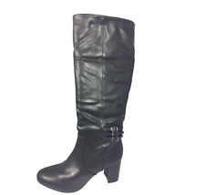 Womens Ladies Black Faux Leather Mid Heel Winter Knee High Boots Size UK 7 New