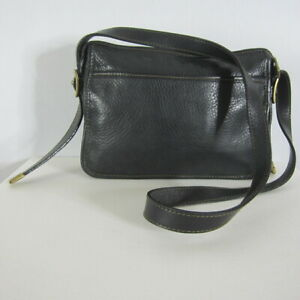 FOSSIL Black Pebbled Leather Shoulder Crossover  Brass Hardware Classic Minimal
