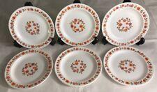 Lote 92 Desde 6 Pequeñas Platos Arcopal Vintage Francia D 18,5 CM Flores Naranja