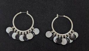Artisan Silver Tone Black White Glass Disc Dangle Chandelier Hoop Earrings