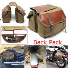 Canvas Motorcycle Saddle Bag Equine Back Pack for Haley Sportster Honda Suzuki