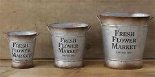 RUSTIC DECOR 3pc FRESH FLOWER MARKET Tin Buckets Pails w Handles FARMHOUSE