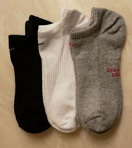 3 Women's Nike No Show Socks Dri-Fit (Black, White, Grey)`