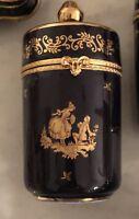 Limoges Trinket Boxes France 22K Gold Cobalt Blue Porcelain
