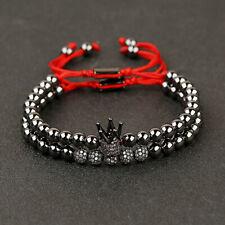 2Pcs/set Luxury Zircon Ball Crown Copper Beads Braided Macrame Couple Bracelets