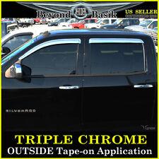 2014-2017 SIERRA Crew Cab Chrome Door Visors Window Rain VentGuards CHEVROLET