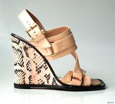 new $795 Derek Lam 'Gillie' beige peach open-toe snakeskin wedges shoes 7 -Italy