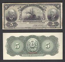 """Canada - Banque d""""horchelaga 5 Piastres 1898 CH.360-18-02p Face & Back Proof"""