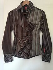 Brown Grey Blue Stripe Miss Sixty Side Button Shirt in Size S Cotton