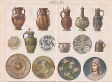 Keramik Terrakotta Fayence Majolika LITHOGRAPHIE von 1885 Terrakotten
