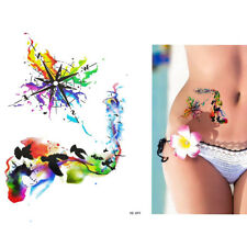 Pro Waterproof Body Art Temporary Tattoo Colorful Animals Watercolor Painting