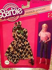 Vintage Barbie Doll Clothing Outfit Fashion Fantasy Brown Dress #4286 1982 NRFB