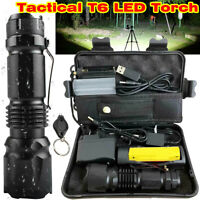 350000LM Tactical T6 LED Flashlight Torch Zoomable Work Light Headlamp Outdoor