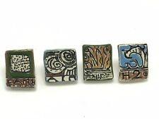 4 Earth Air Fire Water H2O Ceramic Art Tile Knobs Drawer Pulls Funky CRAZING