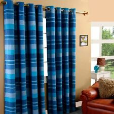 Homescapes 1 Pair of Morocco Ribbed Curtains Blue 72 Inch Drop 100 Cotton at