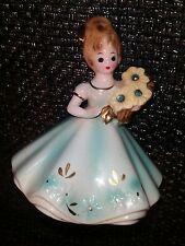 Vintage Josef Originals Birthday Girl March Aquamarine Rhinestone Figurine