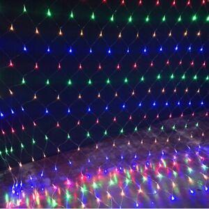 LED Lichternetz Lichtervorhang Außen Garten Lichterkette Weihnachten Bunt 8 Modi