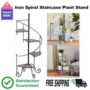 Iron Spiral Staircase Plant Stand Flower Pot Holder Garden Decor Patio Black