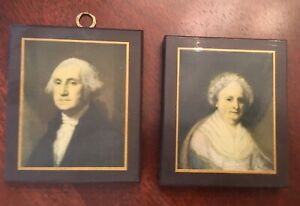 George and Martha Washington portraits miniatures wood wall art Pyraglass set