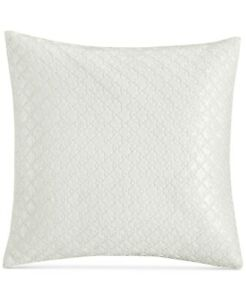 """Hotel Collection Geometric Inlay Cotton 20"""" Sequins Decorative Pillow - White"""