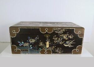 A 19TH CENTURY JAPANESE LACQUER WRITING BOX WITH INLAY