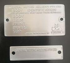 Holden HK Monaro GTS 327 Bathurst Blank Restoration Plate Set