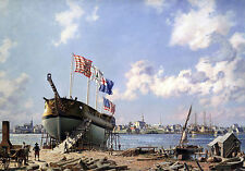 John Stobart Print - Portsmouth: Preparing To Launch John Paul Jones' Sloop
