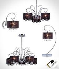 Suspension Applique Murale Lampe de Table Noir Cristal Tissu Chrome Lustre Noir