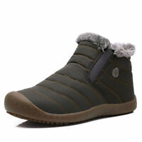 Men's Women Slip On Flats Waterproof Non-slip Warm Casual Shoes Snow Boots