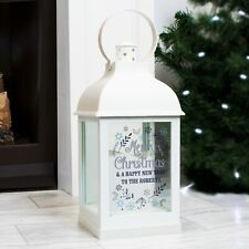 Personalised White Lantern Christmas Xmas Candle Holder Couple Family Gift