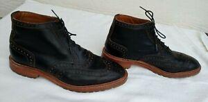 """Allen Edmonds """"STIRLING"""" Men's Black Leather Wingtip Lace up Ankle Boots Sz 8.5D"""