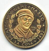 Paises del Caribe 50 Pesos 1990 oro Juan de la Cosa @ PROOF @