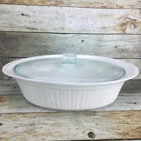 CORNING WARE French White Stoneware 4 Quart Oval Roaster Casserole Dish W Lid