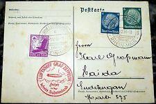 Scheda Francoforte 1938 Graf Zeppelin Sudeti VIAGGIO MONTAGNA ricchi 3 GA (36