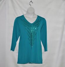 Bob Mackie Feather Sequin Embroidered Top Size S Teal