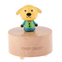Wooden Animals Figure Rotating Music Box w/ Famous Songs for Table Ornaments