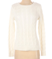 Lands' End Women's Ivory Crew Neck Cable Knit Sweater, Small 6-8