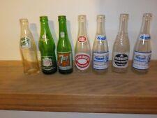 Lot 7 Vintage Glass Soda Pop Bottles 7-up glen rock crest howels + TAKE A LOOK