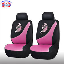 6 PCS 2 Front Pink Car Seat Covers set Universal Butterfly Embroidery Breathable