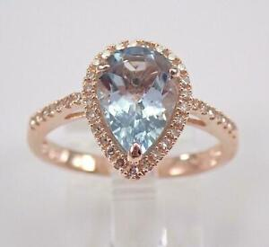 2.50Ct Pear Cut Blue Topaz Women's Halo Engagement Ring 14K Rose Gold Finish