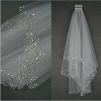 Short Beaded Wedding Veil Two Layer Sequin Tulle With Comb Bridal Hair Accessory
